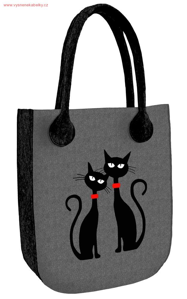 Kabelka City - Dvě kočky - antracit  24ef11c581