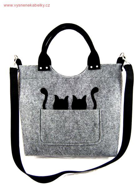Kabelka Excent Dvě kočky koukají z kapsičky na sv. šedé ... c6086fc507